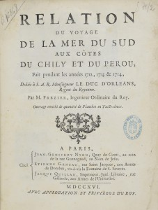Page de titre de la Relation de voyage de Frézier